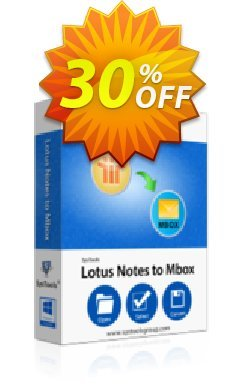 Lotus Notes to MBOX Converter - Personal License Coupon, discount SysTools coupon 36906. Promotion: