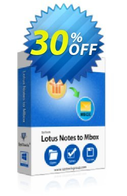 Lotus Notes to MBOX Converter - Enterprise License Coupon, discount SysTools coupon 36906. Promotion: