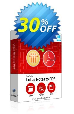 Lotus Notes to PDF - Business License Coupon, discount SysTools coupon 36906. Promotion: