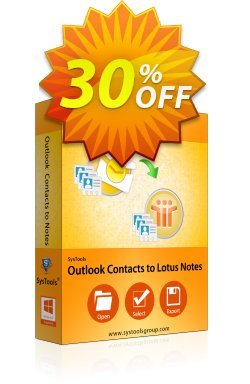 Outlook Contacts to Lotus Notes - Personal License Coupon, discount SysTools coupon 36906. Promotion: