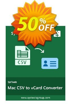 CSV to vCard for MAC - Enterprise License Coupon, discount SysTools coupon 36906. Promotion: