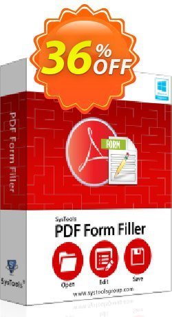 PDF Form Filler - Personal License Coupon, discount SysTools coupon 36906. Promotion: