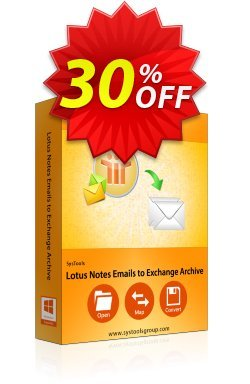 SysTools Lotus Notes Emails to Exchange Archive - Site license Coupon discount SysTools Summer Sale. Promotion: