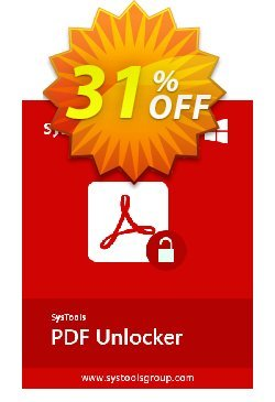 PDF Unlocker - Personal License Coupon, discount SysTools coupon 36906. Promotion: