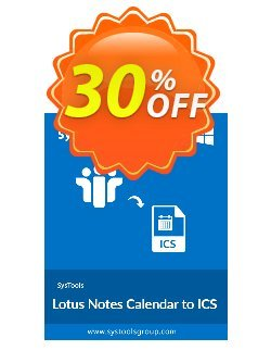 SysTools Lotus Notes Calendars to iCalendar .ICS Coupon discount SysTools Summer Sale. Promotion: