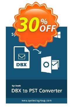 SysTools DBX to PST Converter - Business License  Coupon, discount SysTools coupon 36906. Promotion: SysTools promotion codes 36906