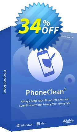 PhoneClean Pro discount (1 year for Mac) Coupon, discount Coupon Imobie promotion 2 (39968). Promotion: 30OFF Coupon Imobie