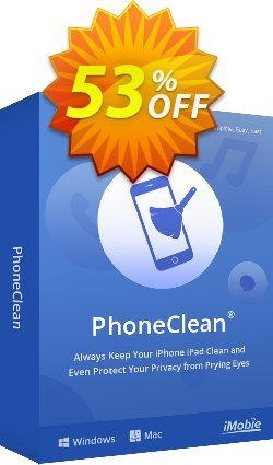 PhoneClean Pro  discount (family license for Mac) Coupon, discount Coupon Imobie promotion 2 (39968). Promotion: $20 discount offer for PhoneClean Pro Family License.