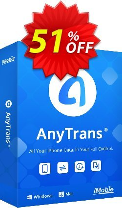 AnyTrans for iOS Coupon discount Coupon Imobie promotion 2 (39968). Promotion: Pay $10 to upgrade your PhoneTrans Pro or PodTrans Pro to AnyTrans.