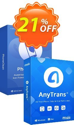 PhoneClean + AnyTrans Personal Bundle for Mac Coupon discount PhoneClean + AnyTrans Personal Bundle for Mac Impressive promo code 2021 - Impressive promo code of PhoneClean + AnyTrans Personal Bundle for Mac 2021