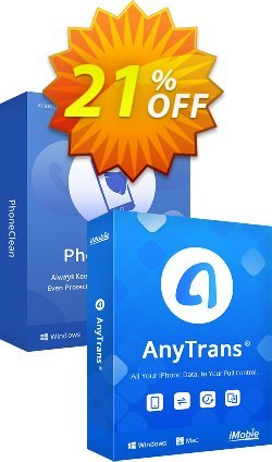 PhoneClean + AnyTrans Family Bundle for Windows Coupon discount PhoneClean + AnyTrans Family Bundle for Windows Excellent deals code 2021 - Excellent deals code of PhoneClean + AnyTrans Family Bundle for Windows 2021