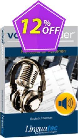 Voice Reader Studio 15 GED / Deutsch/German Coupon, discount Coupon code Voice Reader Studio 15 GED / Deutsch/German. Promotion: Voice Reader Studio 15 GED / Deutsch/German offer from Linguatec
