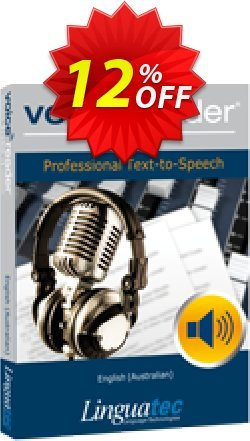 Voice Reader Studio 15 ENA / English - Australian  Coupon, discount Coupon code Voice Reader Studio 15 ENA / English (Australian). Promotion: Voice Reader Studio 15 ENA / English (Australian) offer from Linguatec
