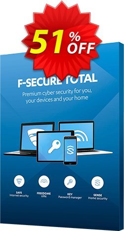 F-Secure TOTAL Coupon discount 50% OFF F-Secure TOTAL, verified - Imposing offer code of F-Secure TOTAL, tested & approved