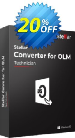OLM to PST Converter discount - Technician  Coupon, discount Stellar Converter for OLM Technician [1 Year Subscription] exclusive sales code 2020. Promotion: NVC Exclusive Coupon