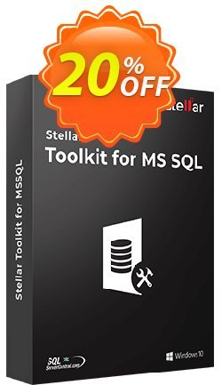 Stellar SQL Database Toolkit Coupon, discount Stellar Toolkit for MSSQL dreaded discounts code 2020. Promotion: NVC Exclusive Coupon