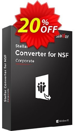 Stellar NSF to PST Converter Coupon discount Stellar Converter for NSF Corporate [1 Year Subscription] awful offer code 2020. Promotion: NVC Exclusive Coupon