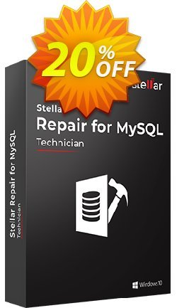 Stellar Repair for MYSQL Coupon discount Stellar Repair for MYSQL fearsome offer code 2020. Promotion: NVC Exclusive Coupon