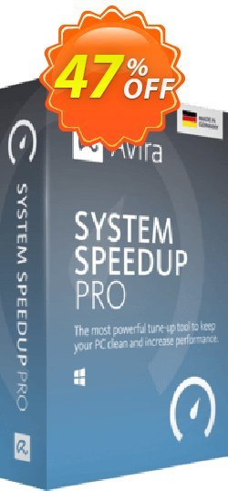 Avira System Speedup Pro - 1 year  Coupon, discount 45% OFF Avira System Speedup Pro (1 year), verified. Promotion: Fearsome promotions code of Avira System Speedup Pro (1 year), tested & approved