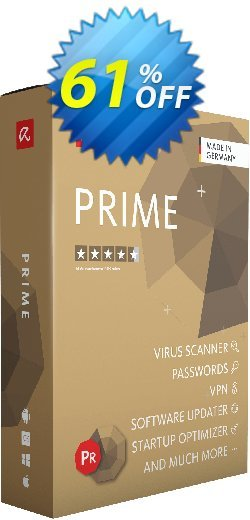 Avira Prime 2 years Coupon, discount 61% OFF Avira Prime 2 years, verified. Promotion: Fearsome promotions code of Avira Prime 2 years, tested & approved