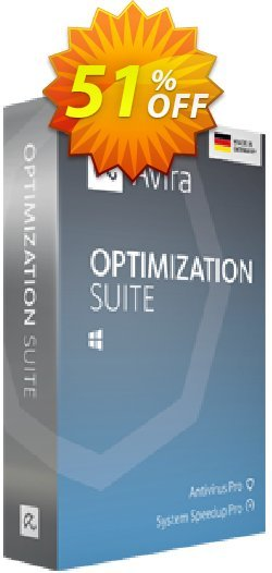Avira Optimization Suite - 2 years  Coupon, discount 50% OFF Avira Optimization Suite (2 year), verified. Promotion: Fearsome promotions code of Avira Optimization Suite (2 year), tested & approved