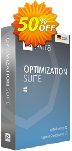 Avira Optimization Suite - 3 years  Coupon, discount 50% OFF Avira Optimization Suite (3 years), verified. Promotion: Fearsome promotions code of Avira Optimization Suite (3 years), tested & approved
