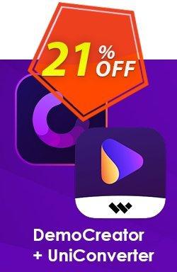 Bundle: Wondershare DemoCreator + UniConverter Coupon discount 20% OFF Bundle: Wondershare DemoCreator + UniConverter, verified - Wondrous discounts code of Bundle: Wondershare DemoCreator + UniConverter, tested & approved