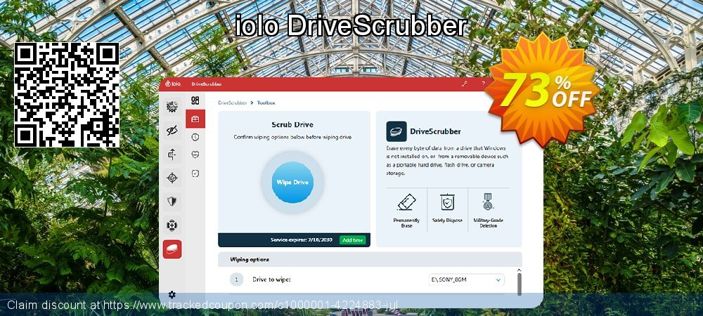 iolo DriveScrubber coupon on US Independence Day offer