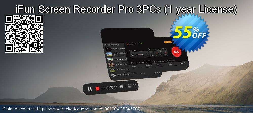 iFun Screen Recorder Pro 3PCs - 1 year License  coupon on Native American Day deals
