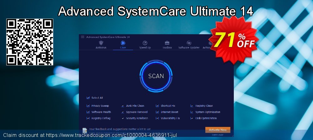 Get 58% OFF Advanced SystemCare Ultimate 12 offer