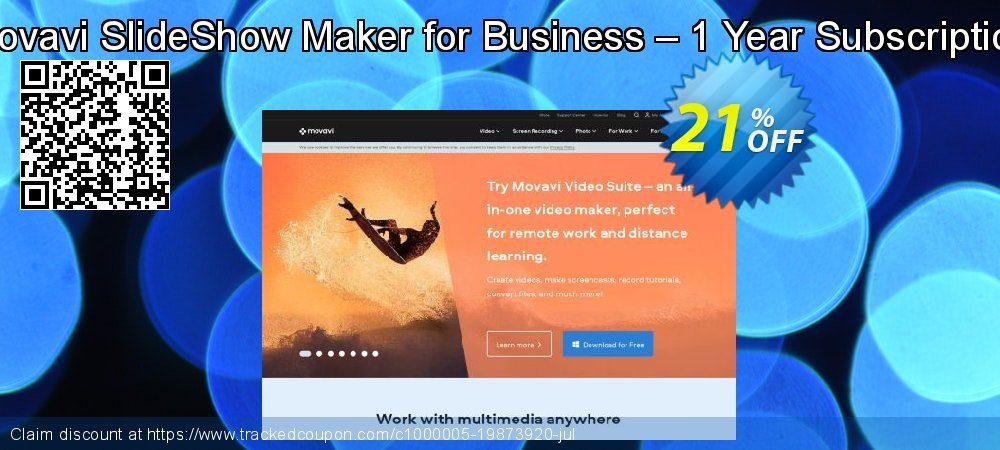 Movavi SlideShow Maker for Business – 1 Year Subscription coupon on Thanksgiving sales