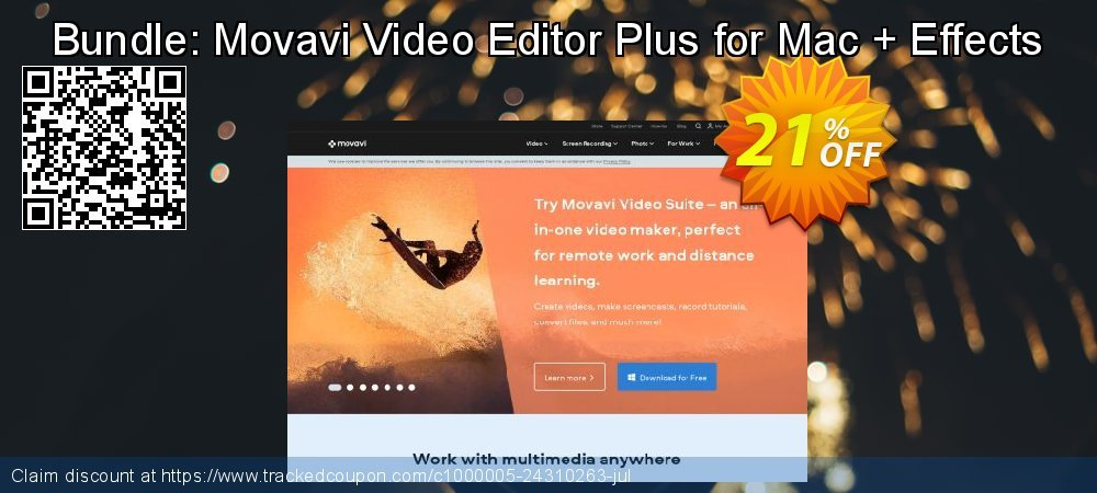 Bundle: Movavi Video Editor Plus for Mac + Effects coupon on Back to School promotions discounts