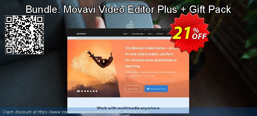 Bundle: Movavi Video Editor Plus + Gift Pack coupon on Teacher deals offering discount