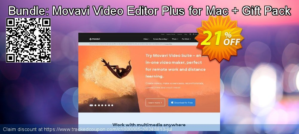 Bundle: Movavi Video Editor Plus for Mac + Gift Pack coupon on Back to School coupons super sale