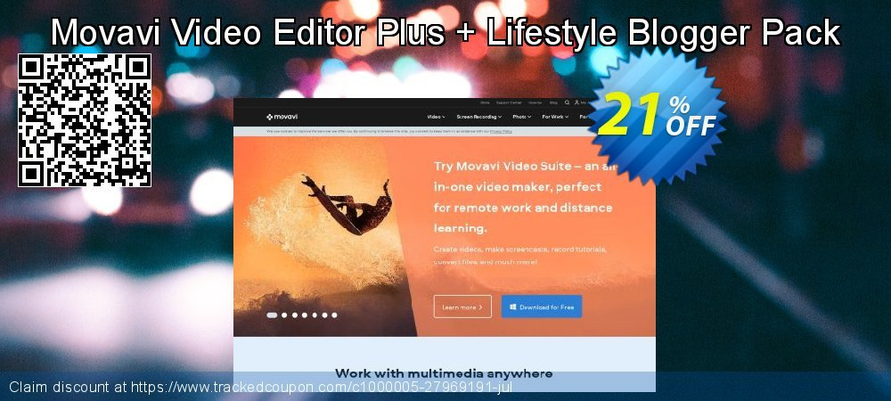 Movavi Video Editor Plus + Lifestyle Blogger Pack coupon on Black Friday offering sales