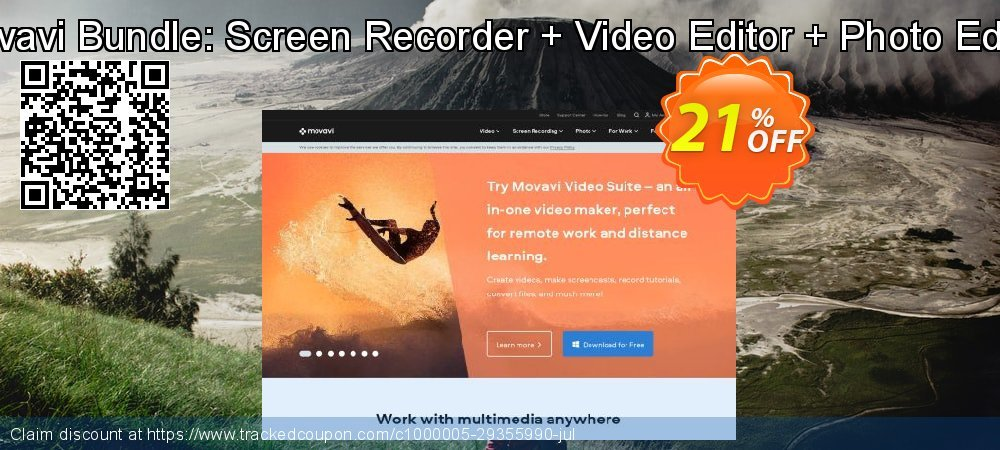 Movavi Bundle: Screen Recorder + Video Editor + Photo Editor coupon on Exclusive Student discount deals