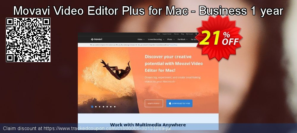 Movavi Video Editor Plus for Mac - Business 1 year coupon on Exclusive Teacher discount offer