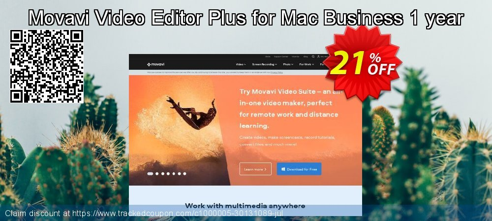 Movavi Video Editor Plus for Mac - Business 1 year coupon on Black Friday offering discount
