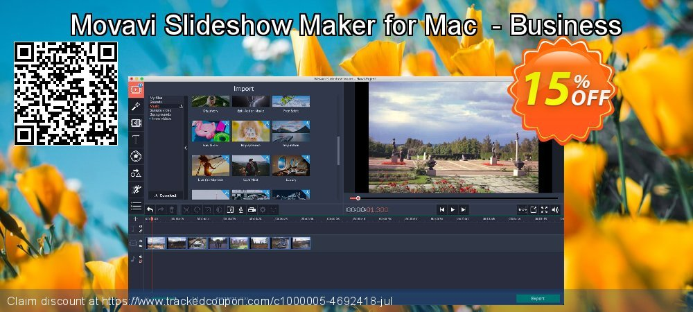 Movavi Slideshow Maker for Mac  - Business coupon on Thanksgiving offering discount
