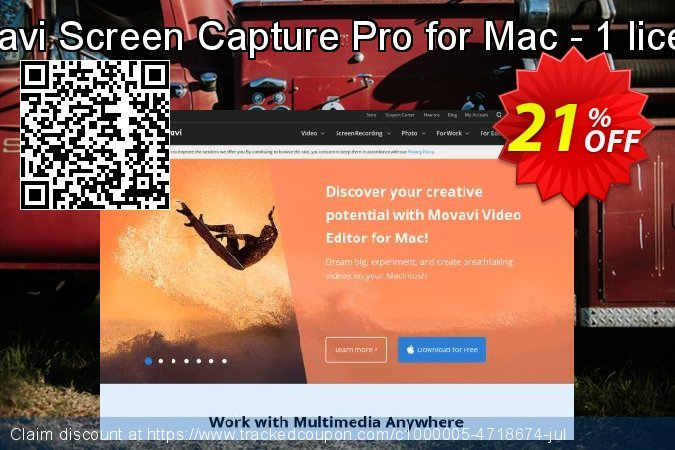 Movavi Screen Capture Pro for Mac - 1 license coupon on Exclusive Teacher discount offering sales