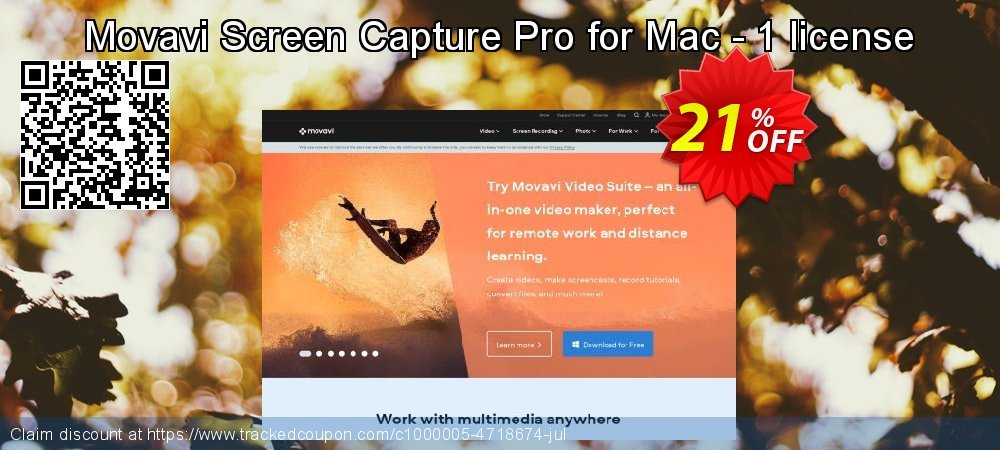 Movavi Screen Capture Pro for Mac - 1 license coupon on Happy New Year super sale