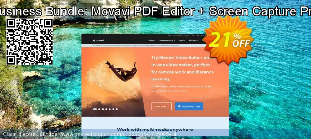 Business Bundle: Movavi PDF Editor + Screen Capture Pro coupon on Back to School promo sales