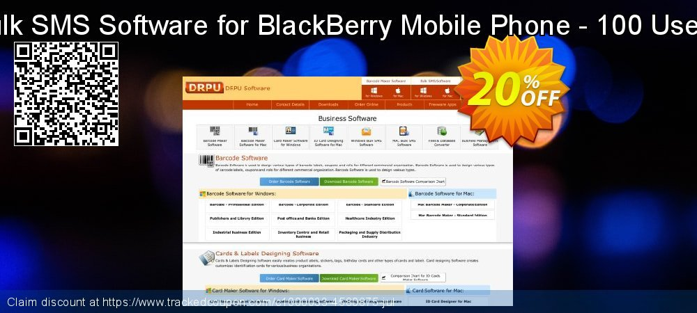 DRPU Bulk SMS Software for BlackBerry Mobile Phone - 100 User License coupon on Spring deals