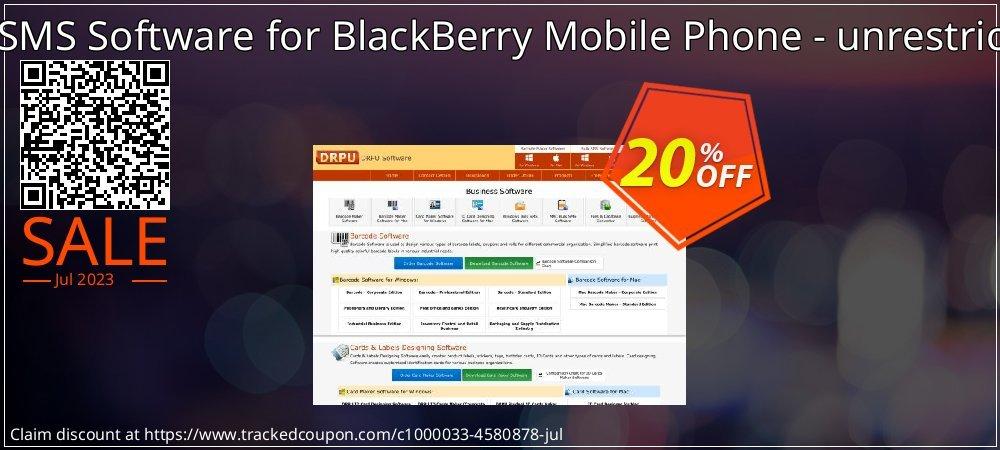 Get 20% OFF DRPU Bulk SMS Software for BlackBerry Mobile Phone - unrestricted version promotions