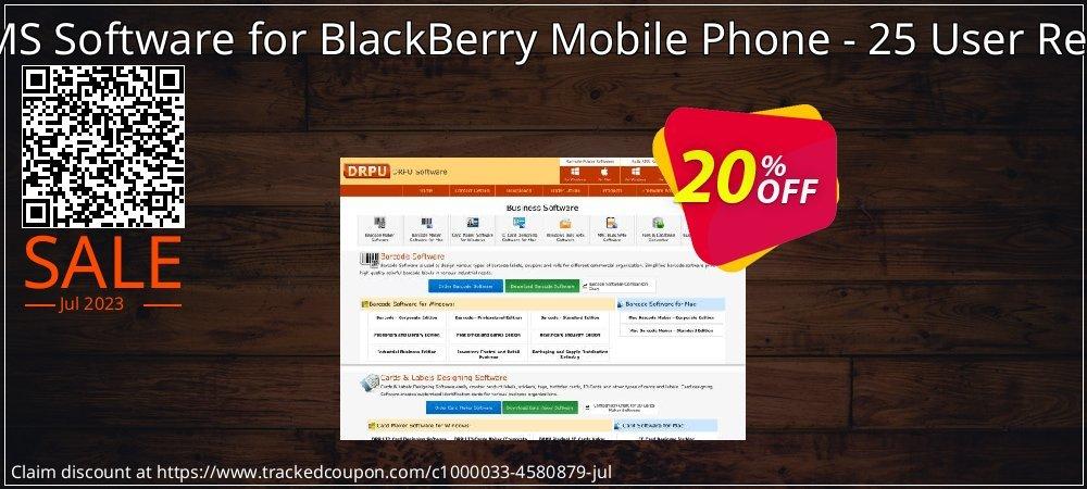 DRPU Bulk SMS Software for BlackBerry Mobile Phone - 25 User Reseller License coupon on Spring offering sales