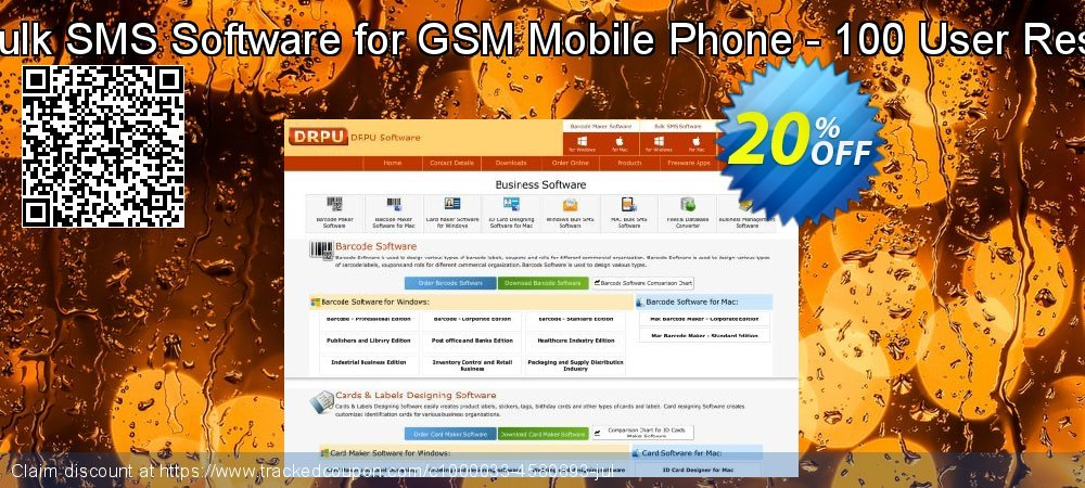 DRPU Mac Bulk SMS Software for GSM Mobile Phone - 100 User Reseller License coupon on Easter Sunday deals