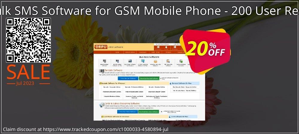 Get 20% OFF DRPU Mac Bulk SMS Software for GSM Mobile Phone - 200 User Reseller License offering sales