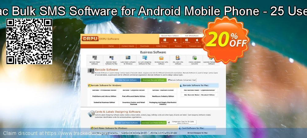 DRPU Mac Bulk SMS Software for Android Mobile Phone - 25 User License coupon on April Fool's Day offering discount