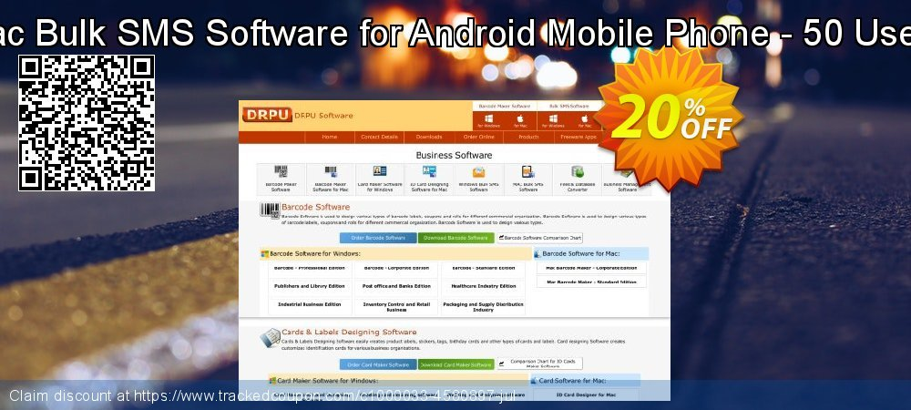 DRPU Mac Bulk SMS Software for Android Mobile Phone - 50 User License coupon on Easter Sunday offering sales