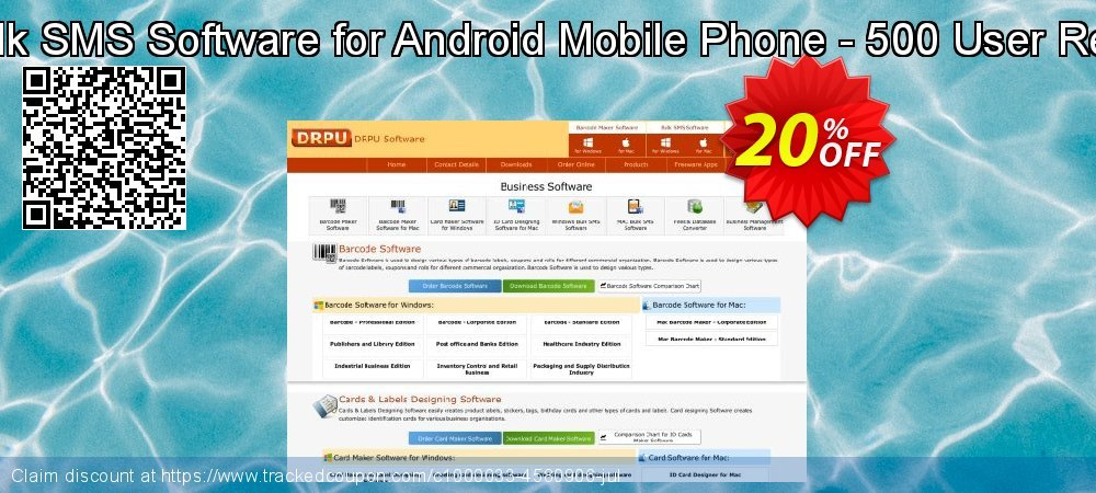 DRPU Mac Bulk SMS Software for Android Mobile Phone - 500 User Reseller License coupon on Easter offering sales
